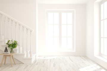 Empty room in white color with stair and modern table. Scandinavian interior design. 3D illustration