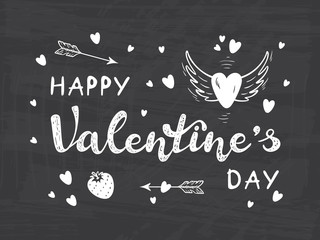 Happy Valentine's day greeting Vector card with calligraphy lettering and Love Symbols. Hand drawn Doodle Heart with Wings, Strawberry, Cupid's Arrows