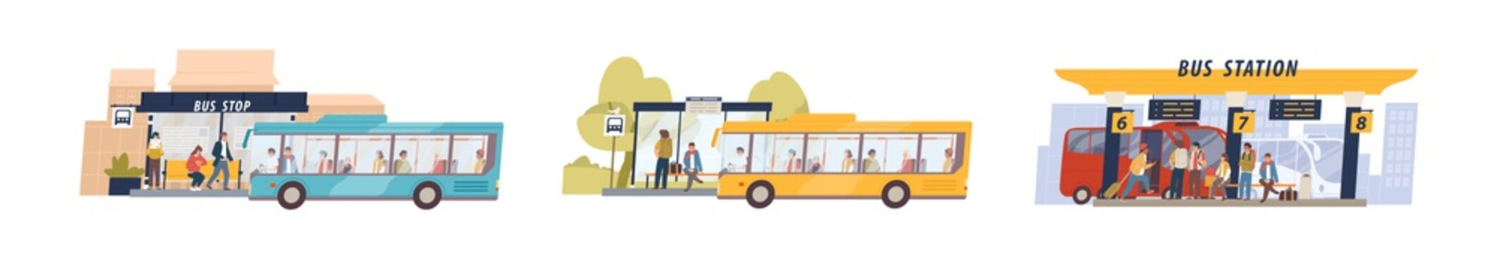 Set of colored cartoon bus station isolated on white background. Passenger at stop with different transfer vector flat illustration. Collection of suburban, city and international travel transport