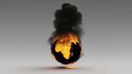 Earth on Fire African Continent Climate Change 3d illustration 3d render