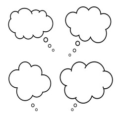 Set of comic style speech bubbles. Empty thinking clouds on white background. Dreams concept. Box for chat. Fun balloon design. Collection of communicate elements. Cartoon idea. Dialogs icon. Vector.