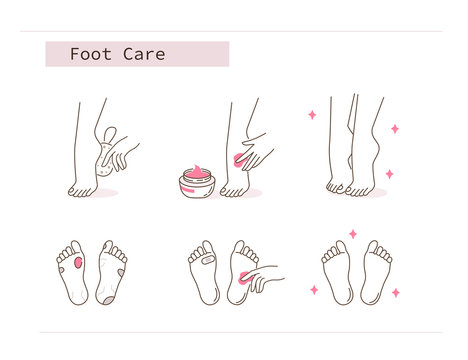 Beauty Girl Take Care of her Feet and Applying Peeling Cream. Woman Making Skincare Procedures against Foot Corn Calluses. Pedicure Spa Routine. Flat Line Vector  Illustration and Icons set.
