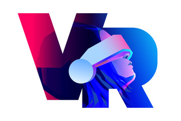 VR letter logo design. Woman wearing virtual or augmented reality glasses. Vector illustration