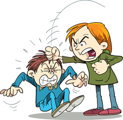 Violence in children. Boy fighting.