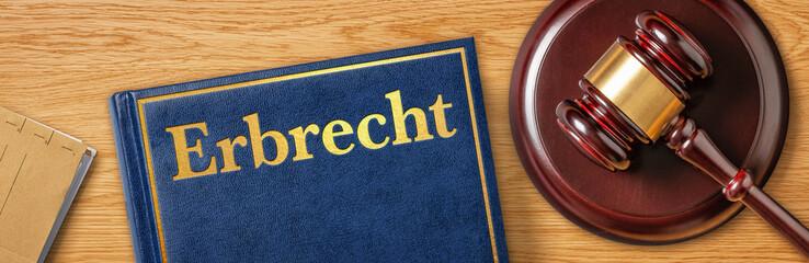 Richterhammer mit Gesetzbuch - Erbrecht Fotomurales