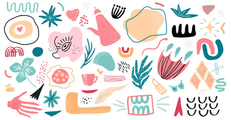 Set of hand drawn various shapes and doodle objects. Abstract contemporary modern trendy vector Illustration. Isolated elements