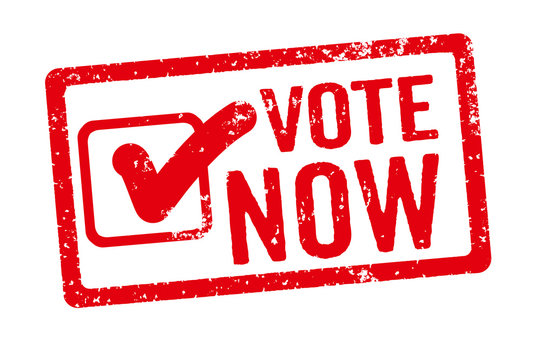 A red stamp on a white background - Vote now