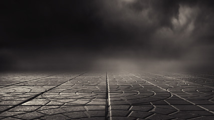 Dramatic black and white background. Cloudy night sky, moonlight, reflection on the pavement. Smoke and fog on a dark street at night. Fototapete