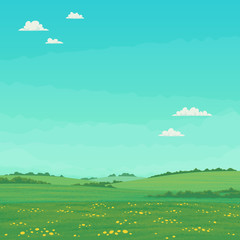 Summer landscape with green meadows with wildflowers and trees with bright blue sky and clouds. Cartoon vector illustration, card, country background, farming banner template.