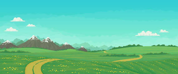 Summer landscape with rural road running through green meadows with wildflowers and trees, snowy mountains with blue sky and clouds in the background. Cartoon vector illustration, banner.