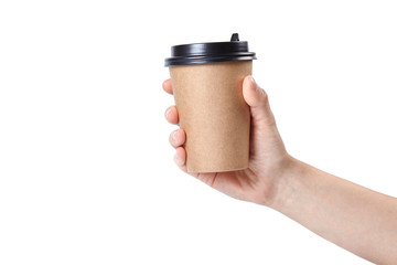 Hand holding a cup isolated on white background.