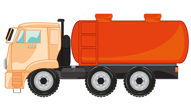 Car gasoline tanker on white background is insulated
