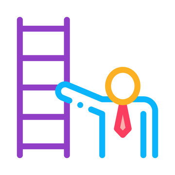Human Stairs Icon Vector. Outline Human Stairs Sign. Isolated Contour Symbol Illustration
