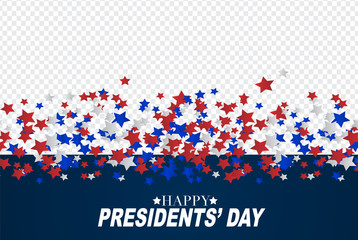 Presidents day sale background overlay. American flag colors blue, red, and white stars. Vector illustration. Fotomurales