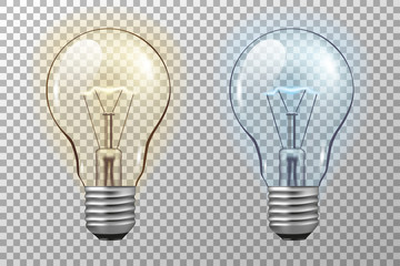 Realistic light bulb. Glowing yellow and blue filament lamps. Vector 3D light bulbs set on transparent background. template creativity idea business innovation