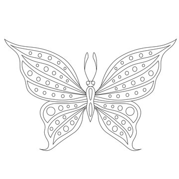 butterfly with circles on the wings coloring page contour vector illustration
