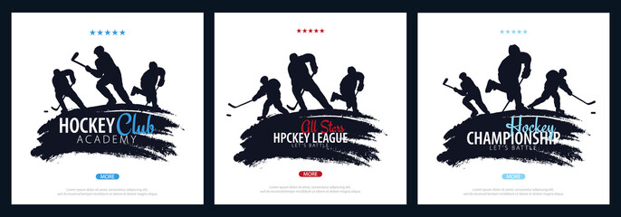 Set of Ice Hockey banners with player and Stick.