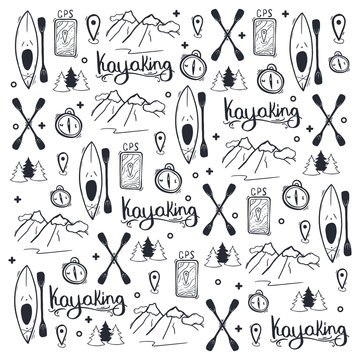 Kayaking or rafting hand draw doodle background.