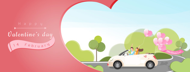 Valentine's day background banner with cartoon couple in a car