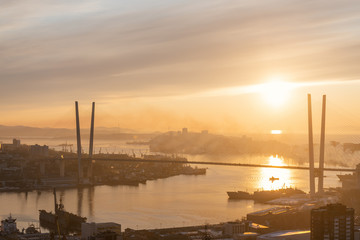 Wall Mural - Vladivostok cityscape at sunset view.