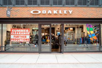 Entrance to Oakley shop in modern shopping mall