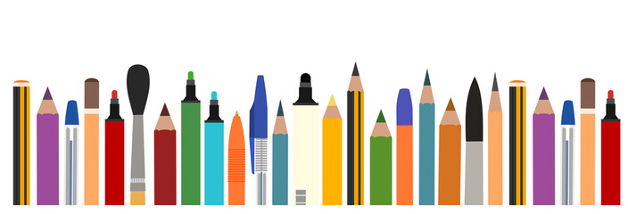 Brushes, pencils, felt-tip pens. Vector. Horizontal background picture for art studio, stationery store, school. Isolated object. Bottom frame for banner, poster, business card.