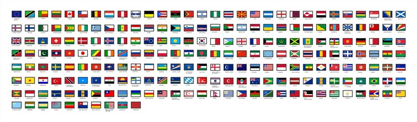 All national flags countries of the world. Official country signs, europe emblems, asia and america countries flag. International language knowledge or Africa, Canada and Japan flags. Vector.