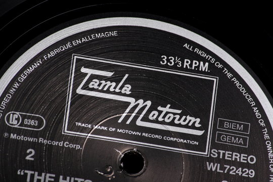 Close up of a vinyl record label and the Tamla Motown logo on March 10th, 2014 in England