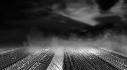 Autocollant pour porte Voies ferrées Dramatic black and white background. Cloudy night sky, moonlight, reflection on the pavement. Smoke and fog on a dark street at night.