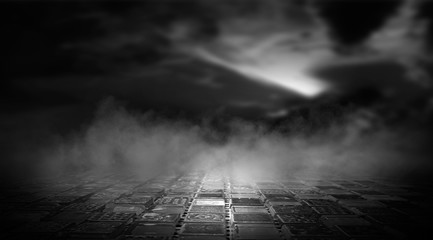 Photo sur Plexiglas Autoroute nuit Dramatic black and white background. Cloudy night sky, moonlight, reflection on the pavement. Smoke and fog on a dark street at night.