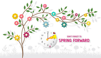 Spring Forward Banner. Daylight Saving Time Reminder - Spring Time Change.