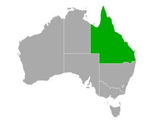 Karte von Queensland in Australien