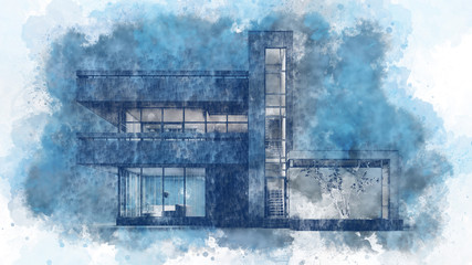Aluminium Prints Blue Pencil and watercolor drawing by hand of a modern house with a balcony on light white paper. Evening blue lighting with white outlines and warm light from the Windows. Stock illustration