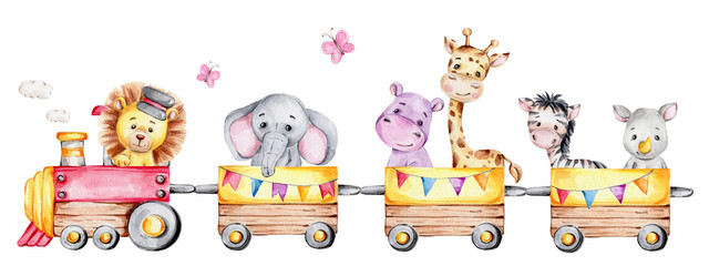Cartoon train with lion driver and elephant, rhinoceros, giraffe, hippopotamus and zebra on waggons  watercolor hand draw illustration  with white isolated background