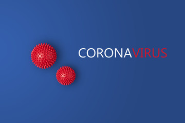 Abstract virus strain model of Novel coronavirus 2019-nCoV covid-19 with text on blue background. Virus Pandemic Protection Concept
