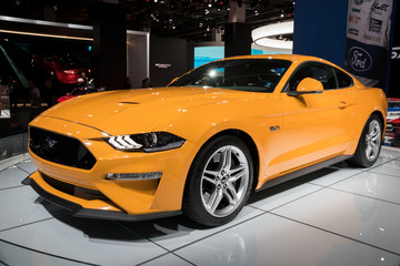 FRANKFURT, GERMANY - SEP 13, 2017: New 2018 Ford Mustang GT sports car at the Frankfurt IAA Motor Show.