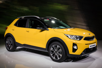 FRANKFURT, GERMANY - SEP 12, 2017: Kia Stonic compact SUV car presented at the Frankfurt IAA Motor Show 2017.