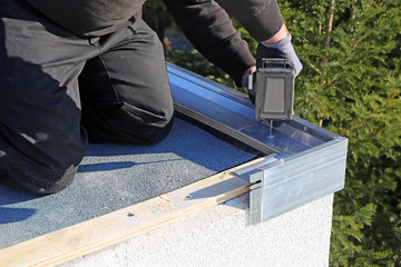 Plumbing work on a flat roof