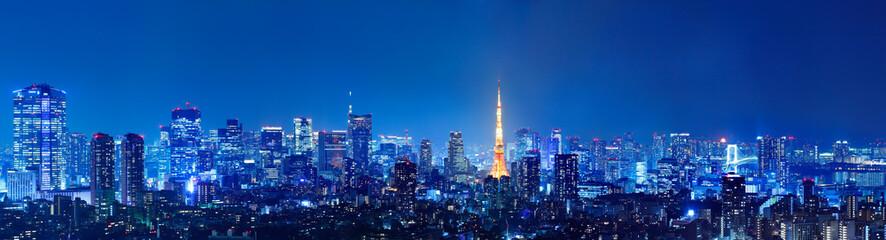 Spoed Foto op Canvas Tokio 光が溢れる東京の夜景