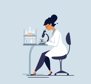 Medical tests illustration. Scientist  in chemical laboratory.