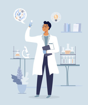 Scientist in lab. Science experiment in  medical laboratory. Vector illustration