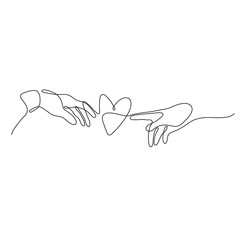 One line male and female hand are drawn to the heart design silhouette. Valentine's Day. Love. Romance. Hand drawn minimalism style vector illustration.
