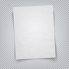 White sheet of paper on a transparent background. Vector illustration realistic A4 sheet with tear-off place