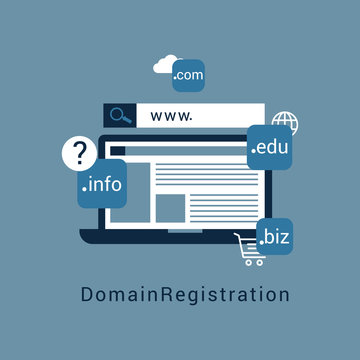 """Vector illustration of registration & domain name concept with """"domain"""" web and website hosting icon"""