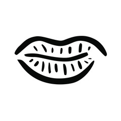 The lips pout illustration doodle. Cool freehand vector icon, trendy graphic design element. Stylized simple image symbol of closed human mouth in retro linear style. Sticker hip tote t-shirt graphic