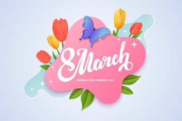 Women's day banner design. 8 march lettering on a pink background surrounded by tulips and spring green leaves. Creative greeting card in paper cut style. Vector illustration Wall mural