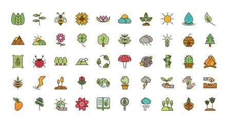 nature foliage botanical ecology drawing icons set