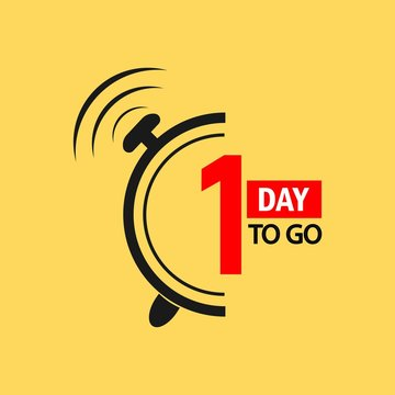 1 day to go last countdown icon. One day go sale price offer promo deal timer, 1 day only.