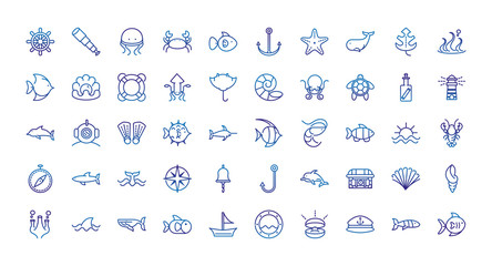 marine life nautical sea animals and equipment thick line blue icons Wall mural