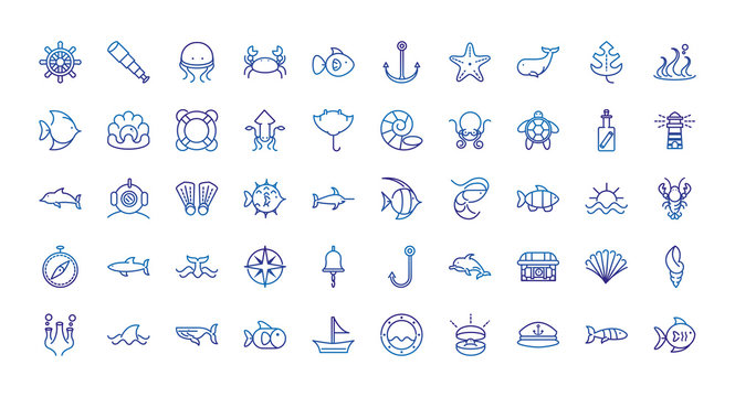 marine life nautical sea animals and equipment thick line blue icons